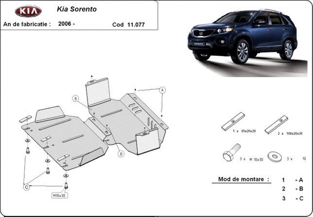 Scut motor metalic pentru Kia Sorento 2002-prezent - otel 2mm