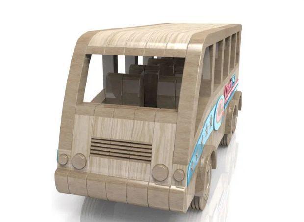 autobuz - jucarie din lemn