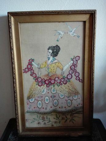 Tablou vechi femeie si porumbei pictura pe panza de matase