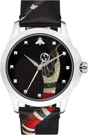 GUCCI Snake Insignia Leather Strap Watch, 40mm-50%