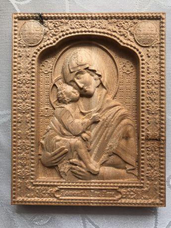 Дърворезба,Икона Богородица с Младенеца