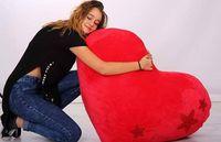 Огромно плюшено сърце с кристални камъни 115см за св. валентин сърчице
