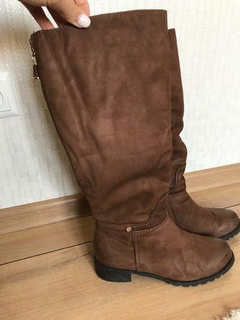 Сапоги зимние, коричневые, высокие, до колена