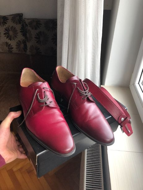 Pantofi eleganti barbati marimea 44 din PIELE + curea asortata BONUS
