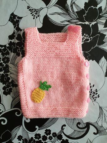 Ръчно плетено елече за новородено 0-3 месеца