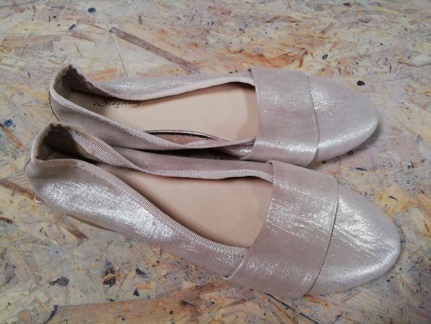 Balerini 38 piele naturală argintiu