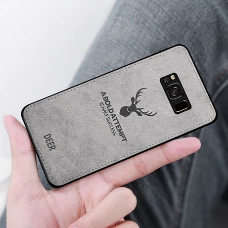 Husa textura Denim DEER, Samsung S8 Plus, Business, Gri si Neagra, Noi