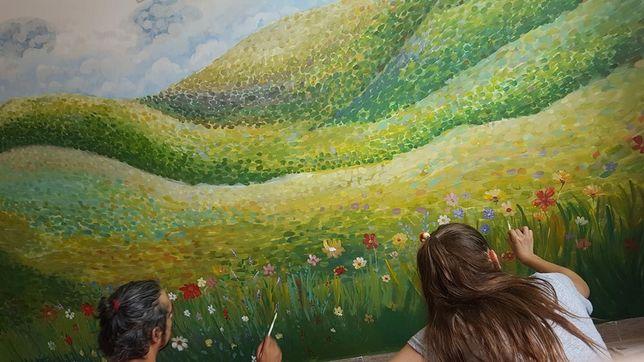 Pictura pe perete/ camera copilului/ fatada casa/ loc de joaca/ scoala