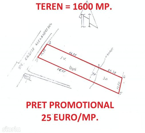 TEREN intravilan - 1600 mp, D = 18 m, Grigore Alexandrescu