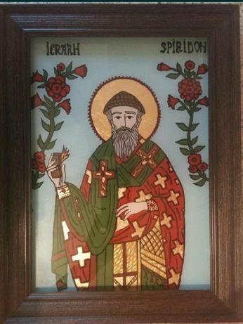 Sfântul Spiridon- numit și Sfântul călător- icoană pictată manual