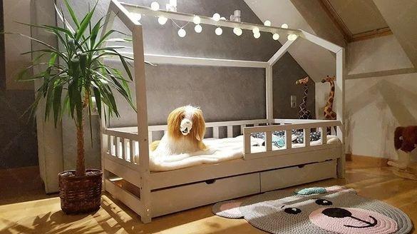 Детско легло къщичка ПРОМОЦИЯ- Масивна дървесина - БЯЛО