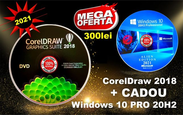CorelDRAW 2018-3 Lic. Permanente CADOU Windows 10 PRO 20H2-DVD SIGILAT