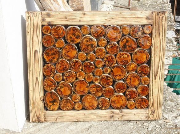 АРТ пано за стена - дърво шайби рамка декорация дървено пано екзотика