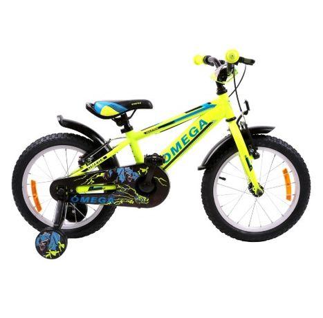 Bicicleta Omega Master 16″, pentru Copii, Yellow, Roti ajutatoare !