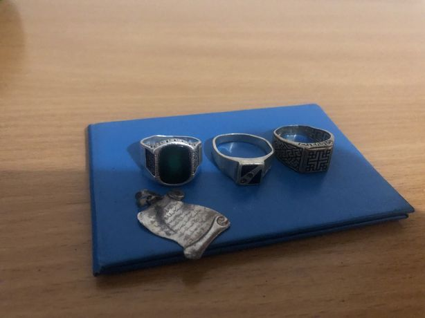 3 кольца и кулон Серебро
