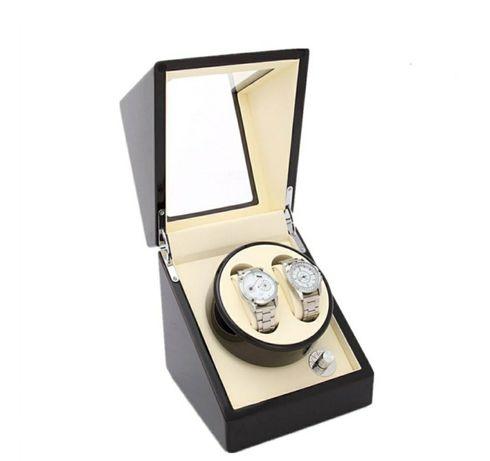 Cutie WATCH WINDER pentru 2 ceasuri automatice Negru interior bej
