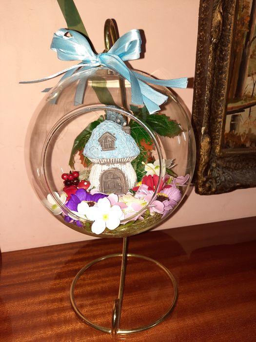 Decoratiune flori de sapun in bol de sticla mare, pe suport metalic Constanta - imagine 1