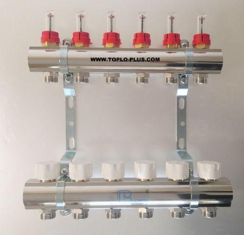 Колектори за подово отопление комплект 6 отвора