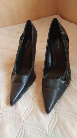 Pantofi de dama, negri, toc argintiu de 10 cm, marime 38
