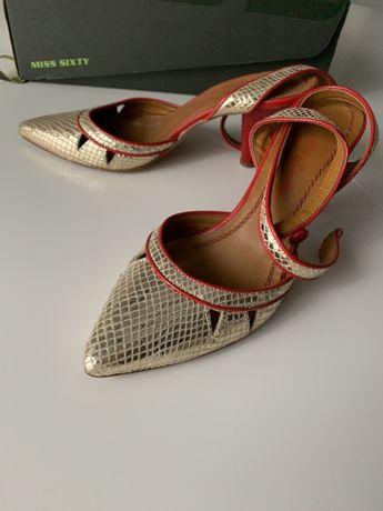 Pantofi aurii cu varf ascutit, eleganti, din piele, Miss Sixty,