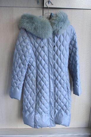 Продается женская куртка пуховик ниже колена серая, размер 38