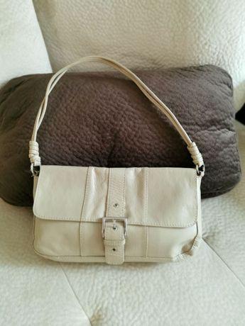 Манго малка бежова чанта естествена кожа
