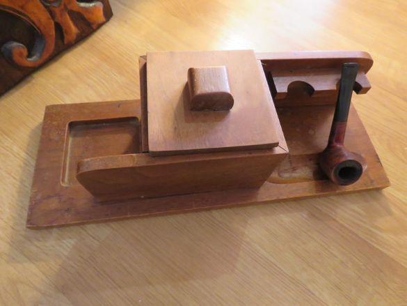 Дървена поставка - Стар набор поставка за две лули, кутия за съхранени