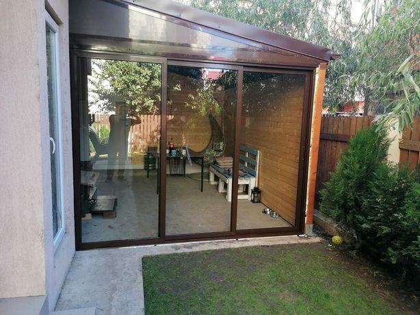 Sticlă glisantă cu sau fără rama securizat sau duplex inchideri terase