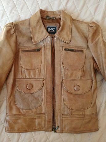 Кожаная куртка нат. Кожа в хорошем состоянии 10000тг xs-s размер