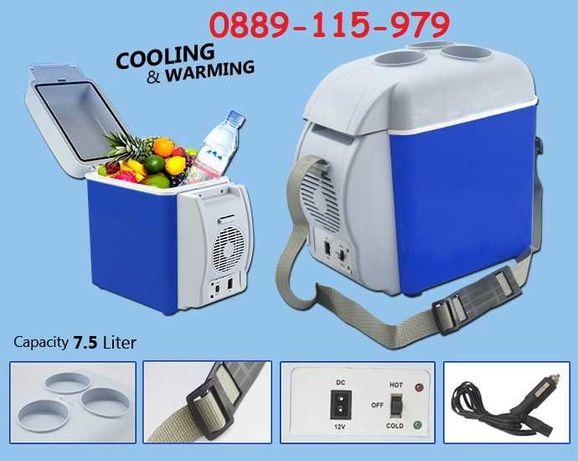 2в1 Преносим Хладилник на 12V Електрическа Хладилна Чанта 7.5 литра