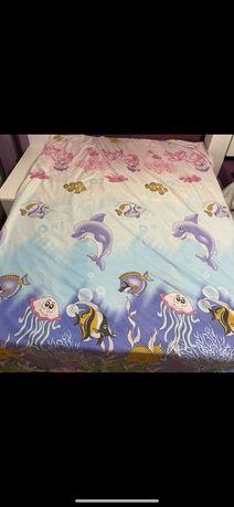 Lenjerie de pat din satin, colorată, asternut pt copii  - 140x200 cm