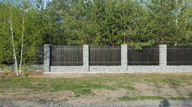 Забор из габионов Алматы. Подпорные стены из гпбиона. Комбинированный