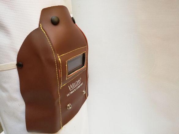 WELDAS Маска заваръчна кожена,соларен панел реален цвят DIN 5-13.Сменя
