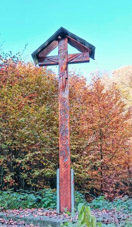 Troița Cruce Lemn Stejar Sculptat