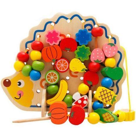 Jucarie din lemn Montessori de snuruit Ariciul cu fructe