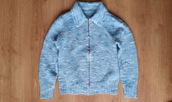 Дамска жилетка с вълна- Оригинално ръчно плетиво, букле, размер Л, L