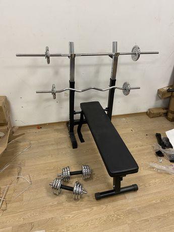 Pachet sala Banca+gantere+bara Z+Bara piept reglabile profi 45 kg noi