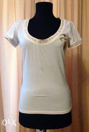 tricou dama Gianfranco Ferre, S, GFF, alb cu auriu, GFFerre