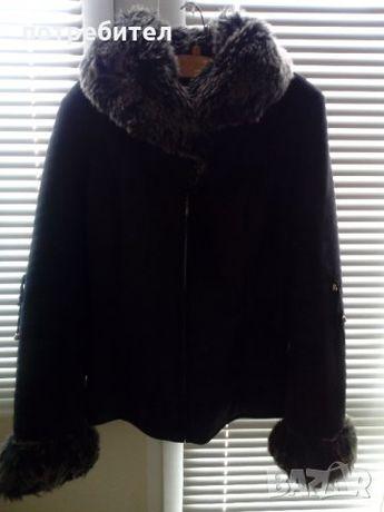 Късо палтенце с голяма пухена яка