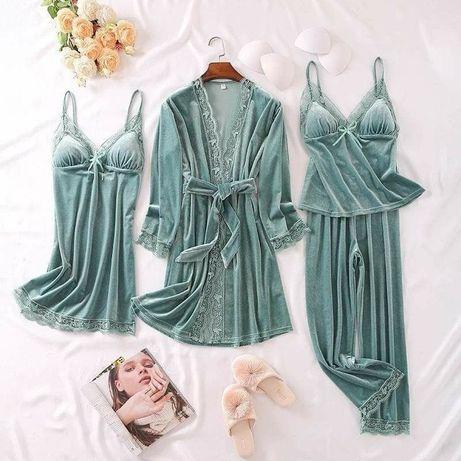 Set Pijama dama din catifea 4 piese