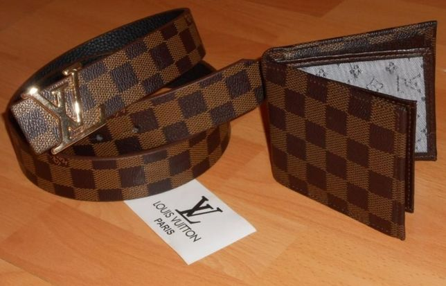 Set Louis Vuitton (portofel +curea)logo auriu new model