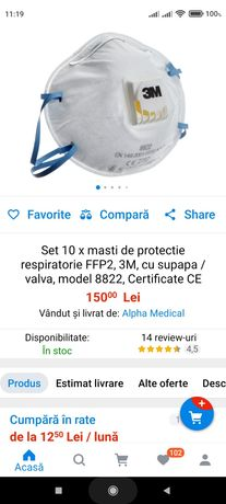 Transport gratuit.Masca 3M de protectie  FFP2, supapa 10+2 gratuite