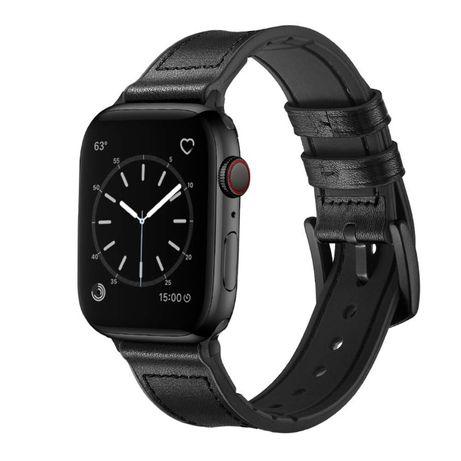 Curea de piele ceas Apple Watch 5 4 3 2 1 42/44 mm - negru