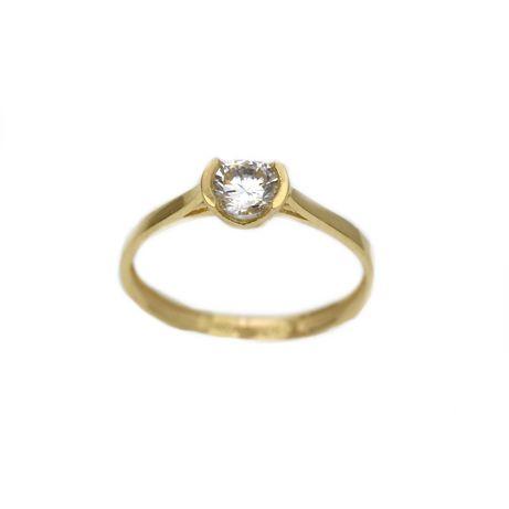 Inel aur galben logodna cu zirconiu - DA306