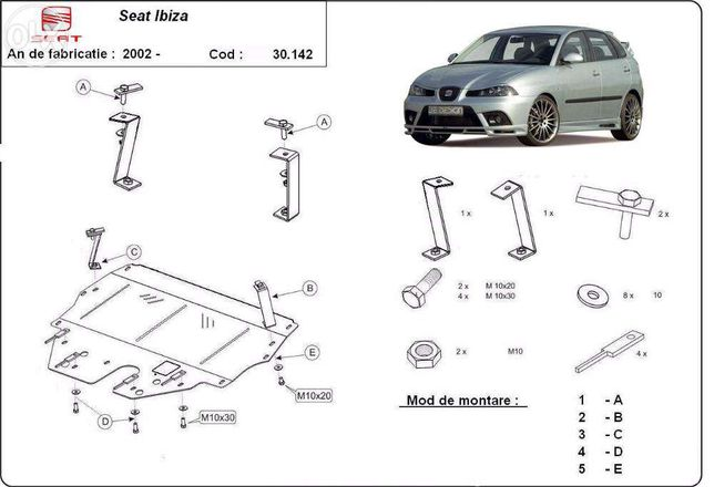 Scut metalic pentru motor Seat Ibiza 2002-prezent, otel 2mm