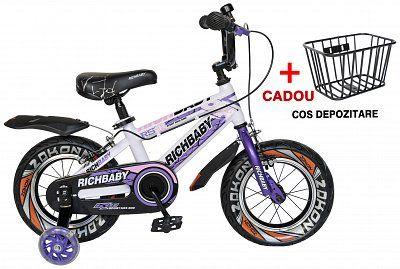 "Bicicleta copii PT - LUX 12"" RICH BABY R1203S, alb/mov, varsta 2-4 ani"