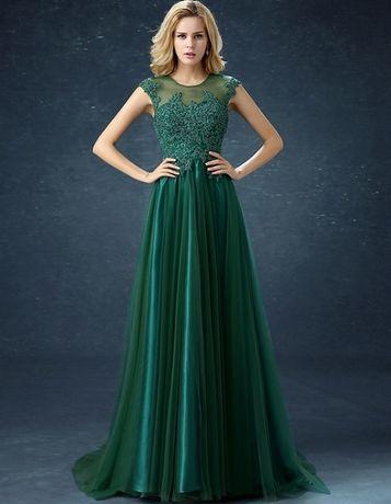 Rochie verde eleganta lunga cu trena si dantela pe bust