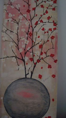 Pictură superbă în ulei Feng Shui 'Ramuri înflorite în vas roz'