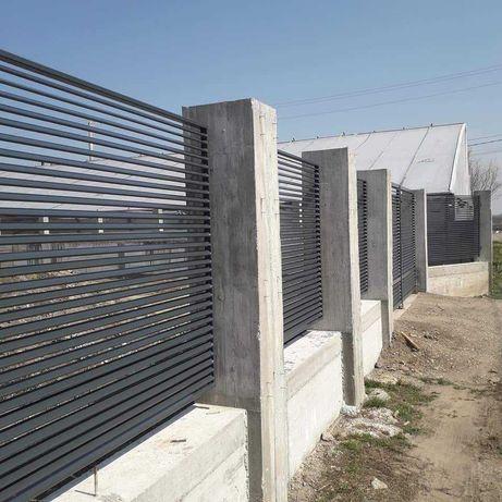 Garduri din sipca metalica, fier forjat, BCA, plasa, placi, jaluzea