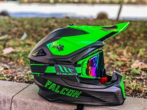 Casca Moto Cross/MX/Enduro MT Falcon System Verde Fluo